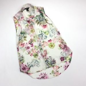 H&M Floral Sheer Sleeveless Button Up Blouse Sz 2